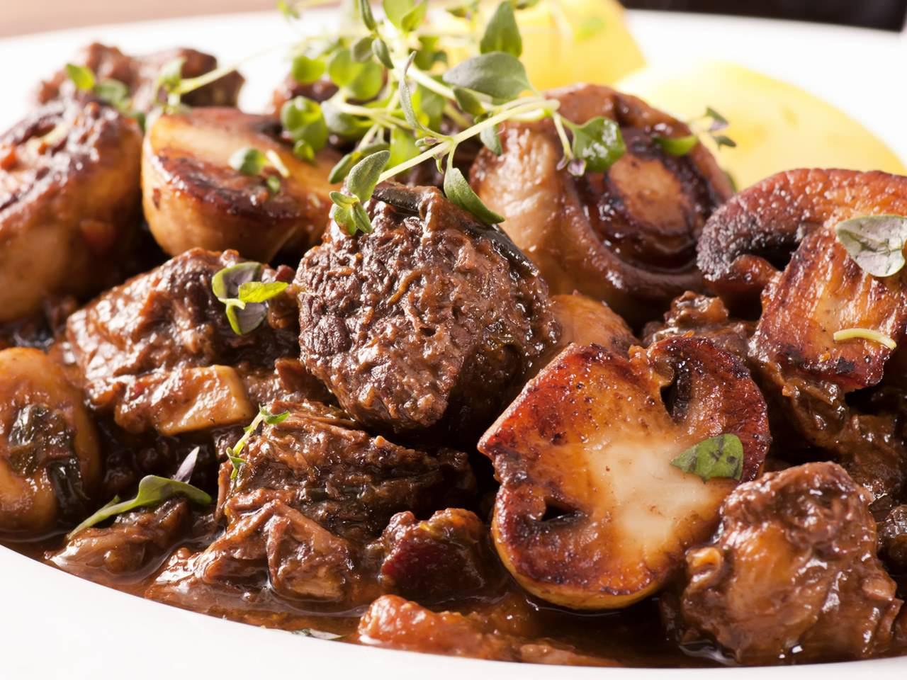 Мясо с грибамирецепт
